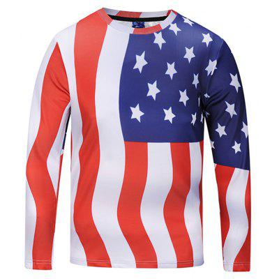 Casual Long Sleeve American Flag Printing T-shirt