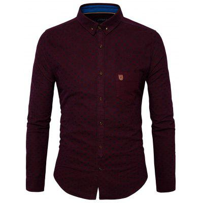 Pocket Dot Printed Long Sleeves Shirt for Men