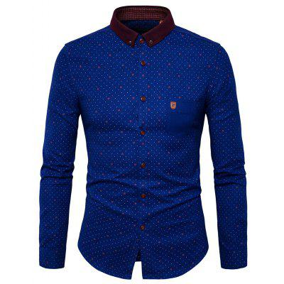 Men Comfortable Dot Printed Long Sleeves Shirt