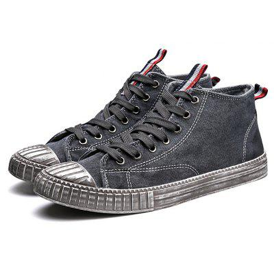 Male Canvas Stylish Wearable Medium Top Casual Shoes