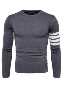 Male Trendy Round Neck Joint Long Sleeves Sweater