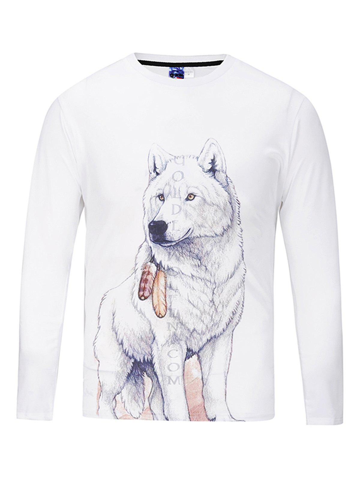 Simple Round Collar Long Sleeve Wolf Pattern Printed T-shirt