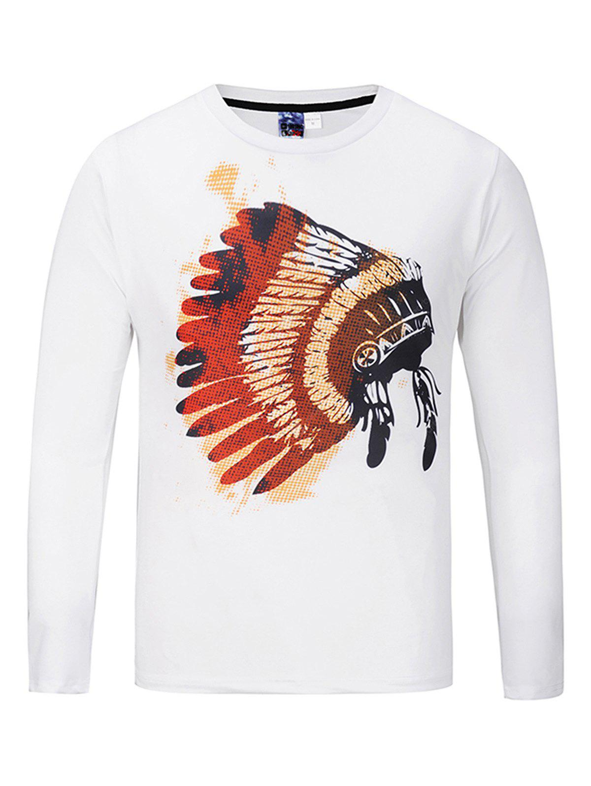 Casual Round Collar Long Sleeve Printed T-shirt