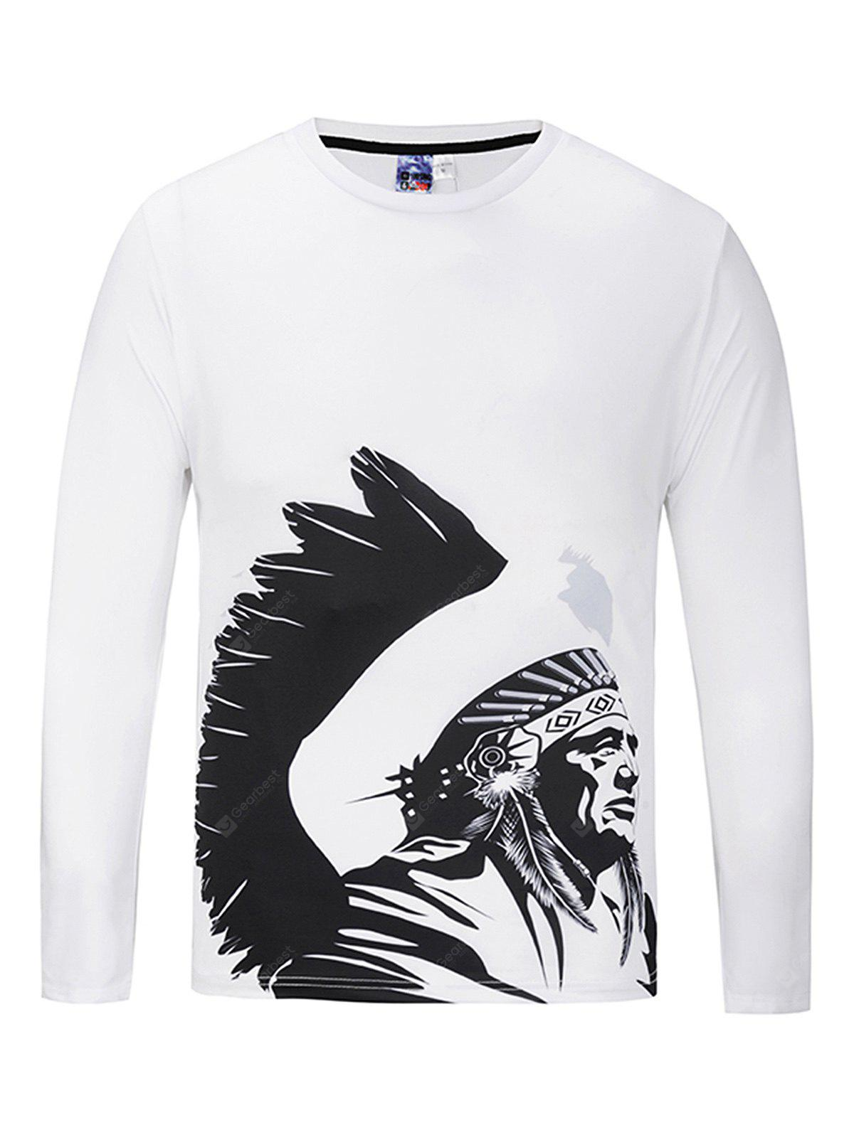 Fashion Round Collar Long Sleeve Printed T-shirt