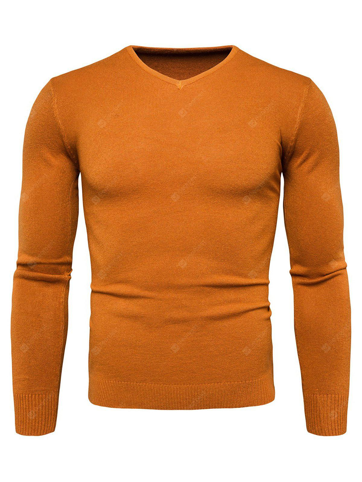 YELLOW 2XL Pure Color Long Sleeves Comfortable Sweater for Men