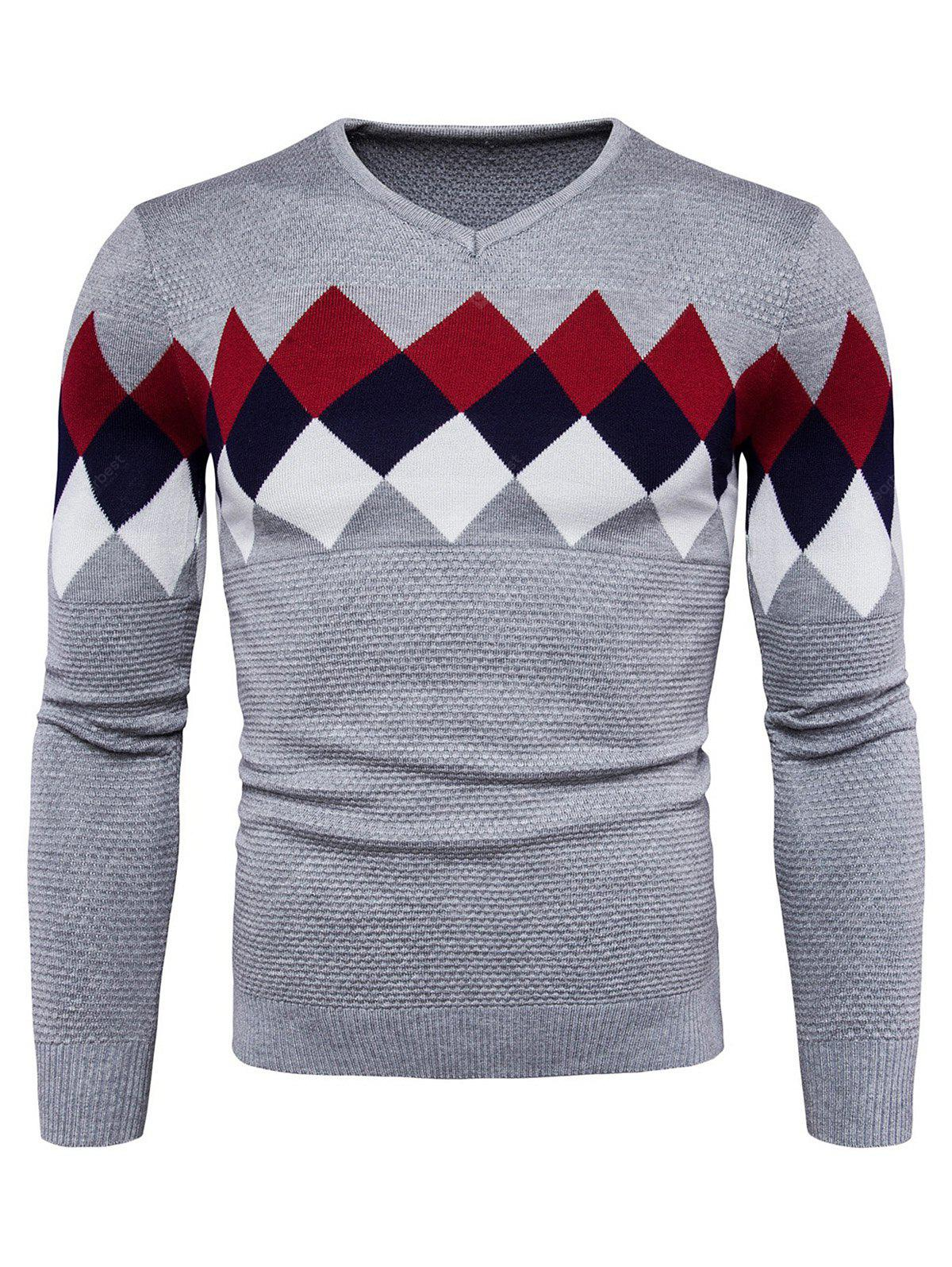 Trendy Checked Joint Long Sleeves Sweater Men L LIGHT GRAY