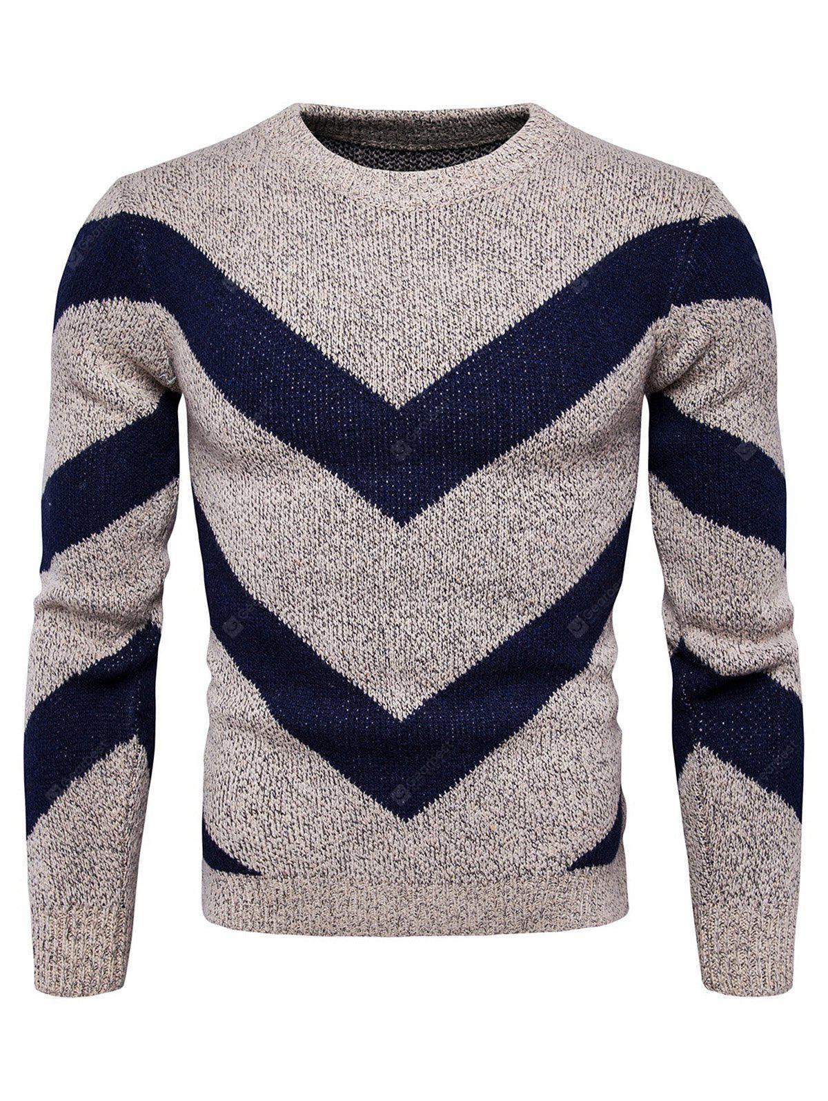 Chic Round Neck Stripes Printed Sweater for Men
