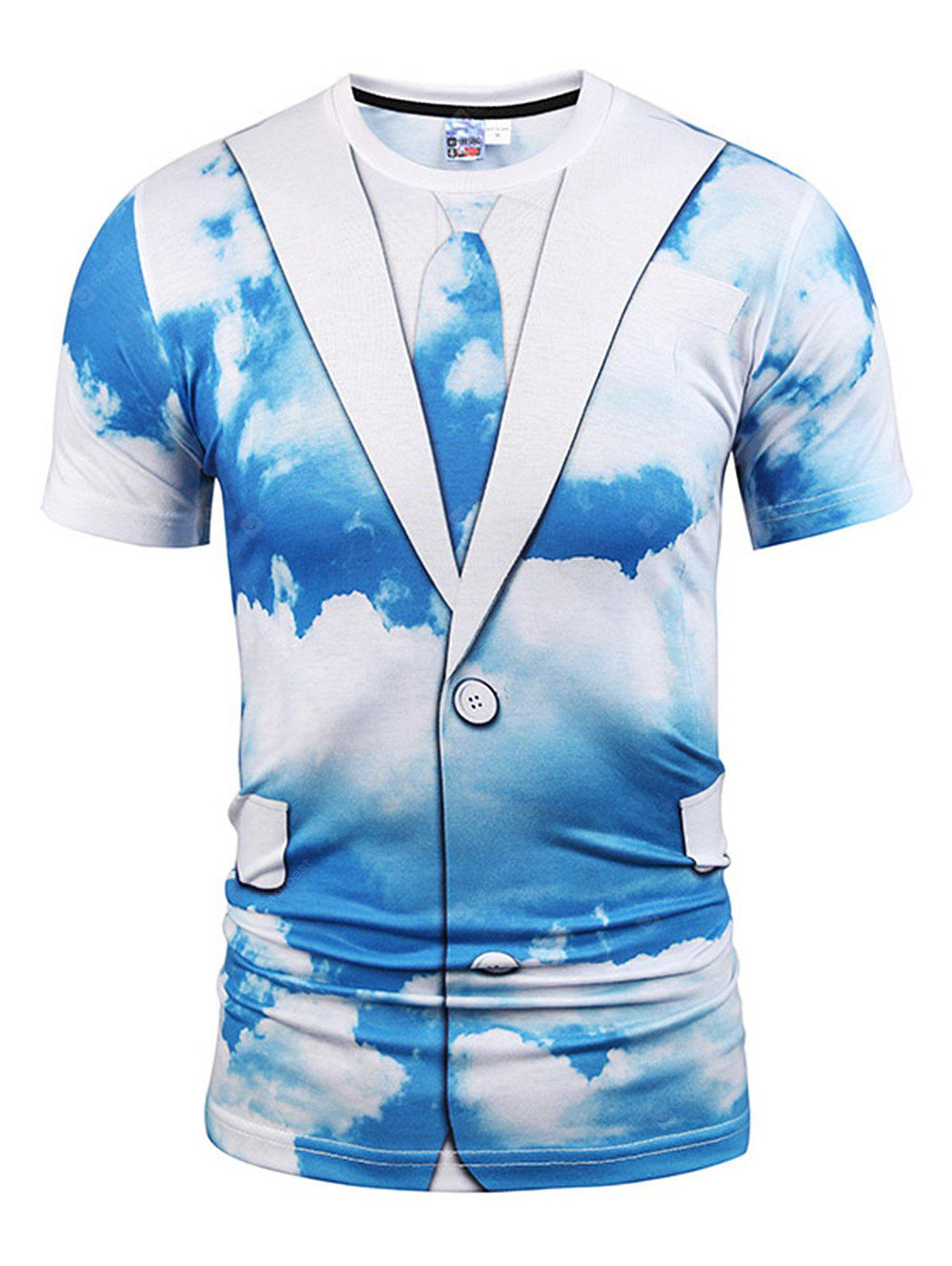 Men Comfortable Sky Printed Casual T-shirt