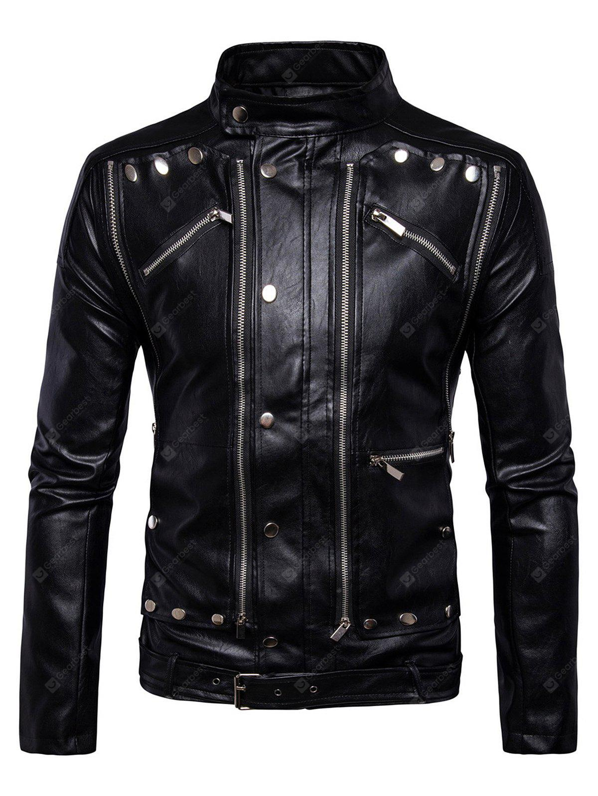Male New Casual Belted Design Slim PU Leather Jacket