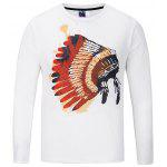 Casual Round Collar Long Sleeve Printed T-shirt - WHITE