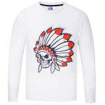Simple Round Collar Long Sleeve Printed T-shirt - WHITE