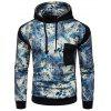 Fashion Printed Joint Long Sleeves Hoodie for Men - BLACK