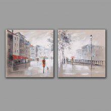 Happy Art 2PCS Street View Home Decoration Oil Painting