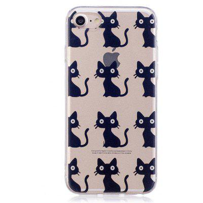Cartoon Black Cat Style TPU Soft Protective Case for iPhone 7