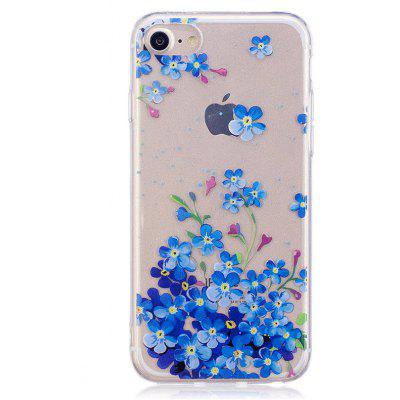 Blue Flower Style TPU Soft Protective Case for iPhone 7
