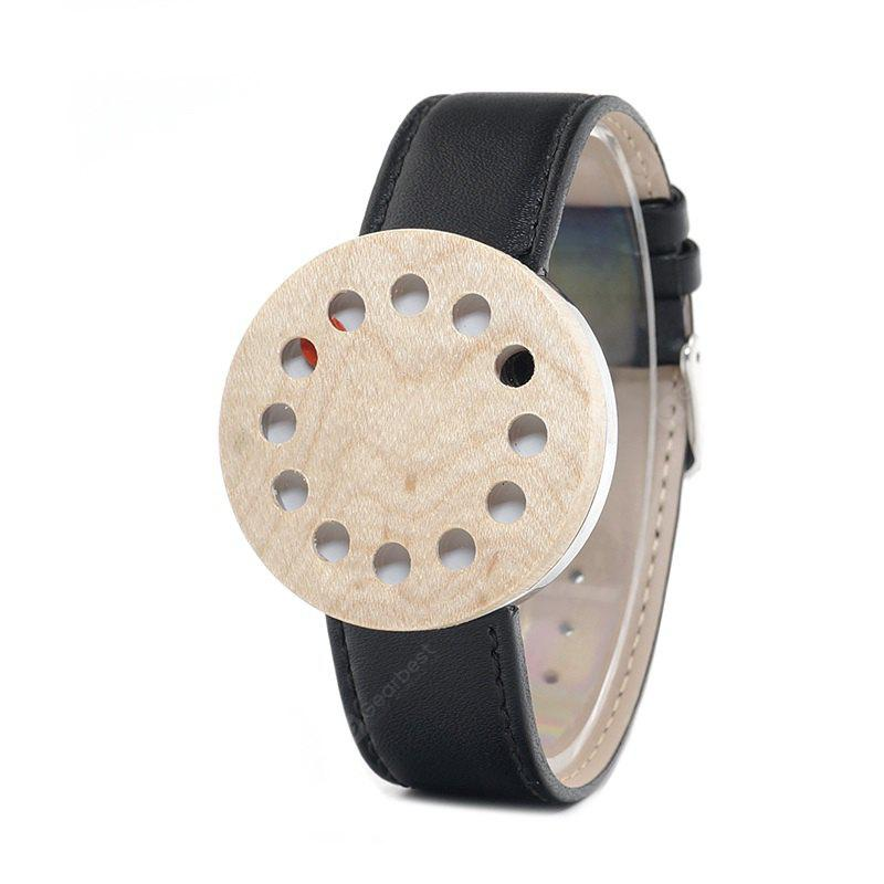Buy BOBO BIRD WC15 Genuine Leather Band Women Watch BLACK WHITE