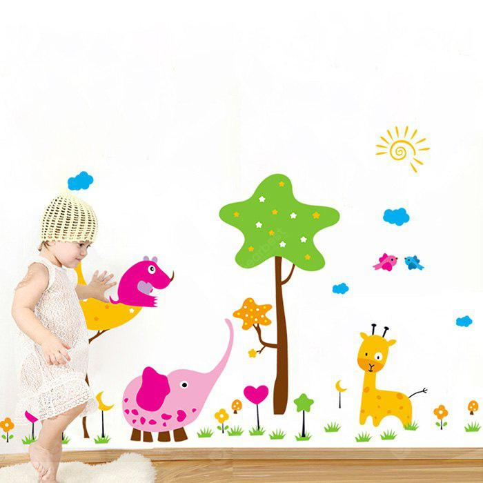 DSU Creative Cartoon Animals Stars Mural Decal Wall Sticker