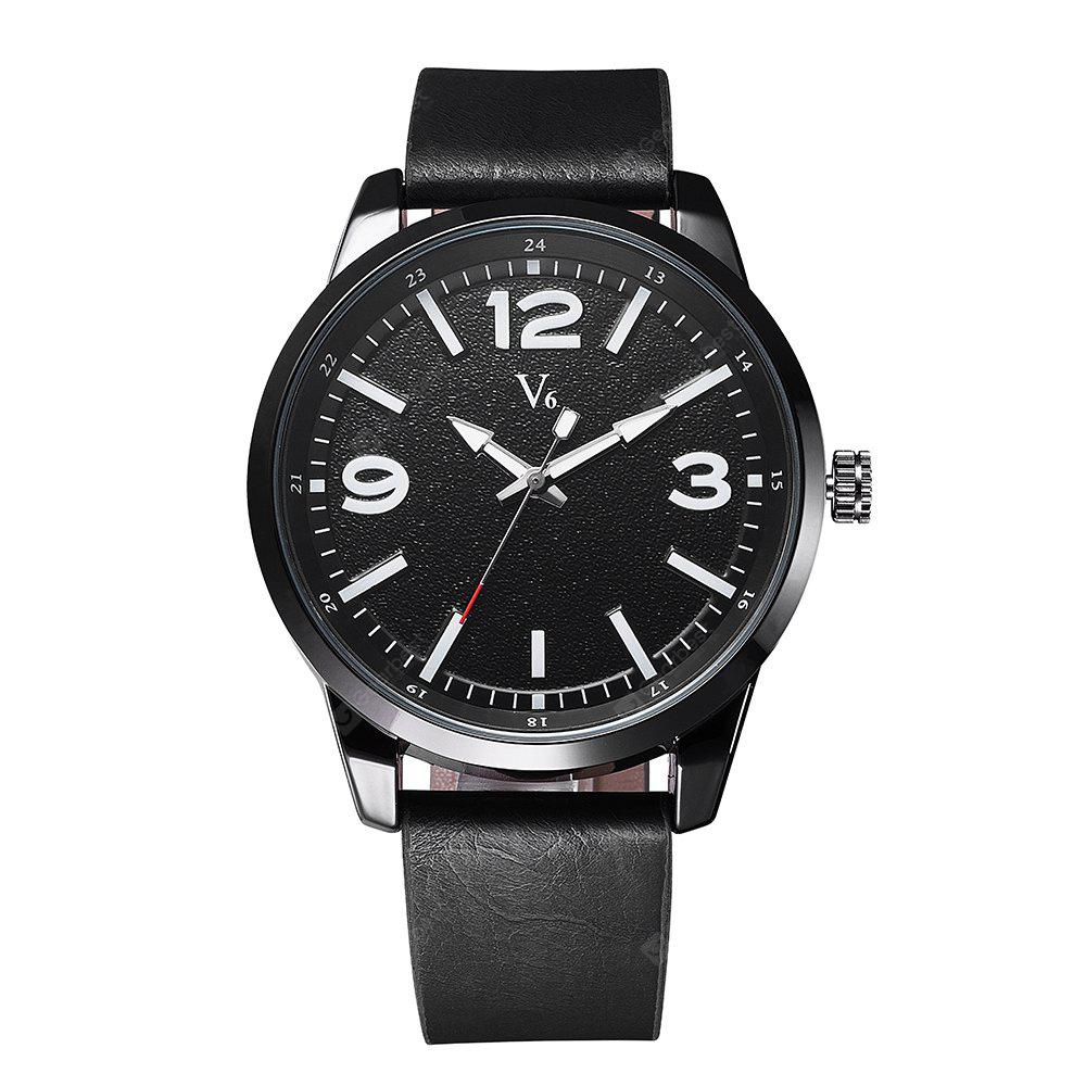V6 B011 Trendy PU Band Men Quartz Watch