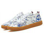 Masculino Impresso Lace Up Casual Skateboarding Shoes - AZUL E BRANCO