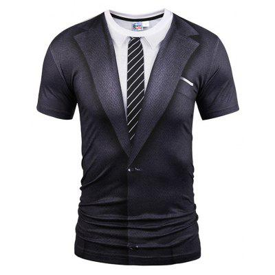 Gearbest Grey suit short sleeve t-shirt
