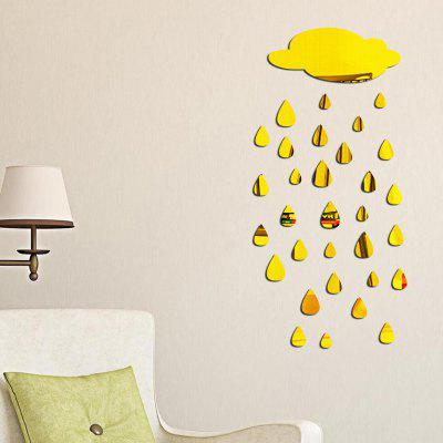 Buy GOLDEN Removable Decorative Raindrops Mirror Wall Sticker for $7.45 in GearBest store