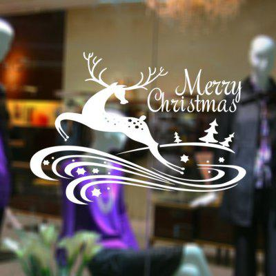 Buy WHITE MCYH WL63 Christmas Decoration Deer Wall Sticker for $9.37 in GearBest store