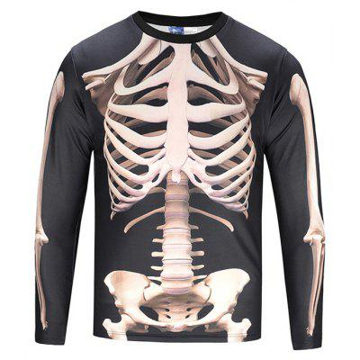 Gearbest Skeleton black long sleeve t-shirt