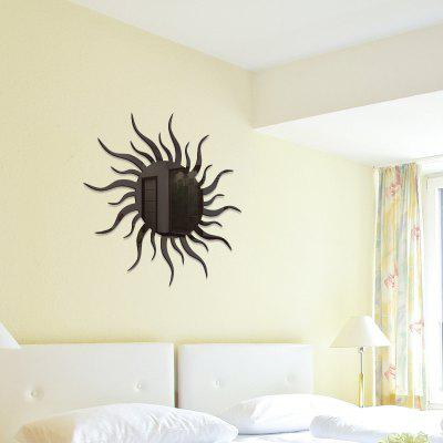 Buy BLACK Removable Decorative Sun Shape Mirror Wall Stickers for $6.72 in GearBest store