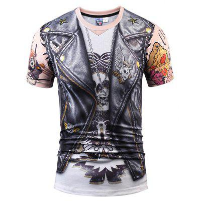 Men Cool Motorcycle Vest T-shirt de manga curta