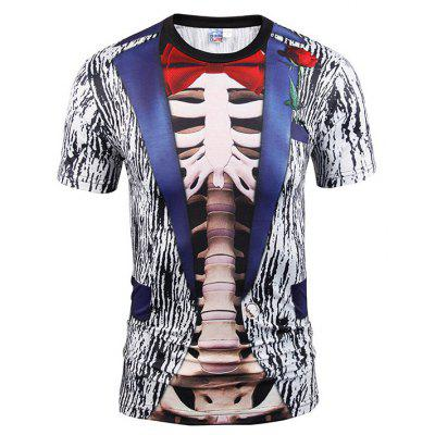 Einfache Digital Printing Runde Kragen Slim Fit T-Shirt