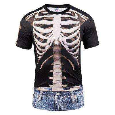 Casual Digital Printing Rundes Kragen Slim Fit T-Shirt