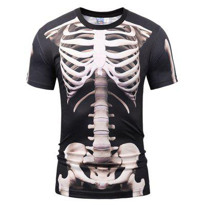 Casual Round Collar Human Skeleton Printing T-shirt