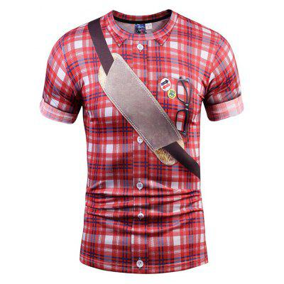 Casual Round Collar Checked T-shirt