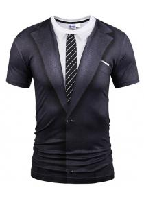Casual Black Suit Printing T-shirt