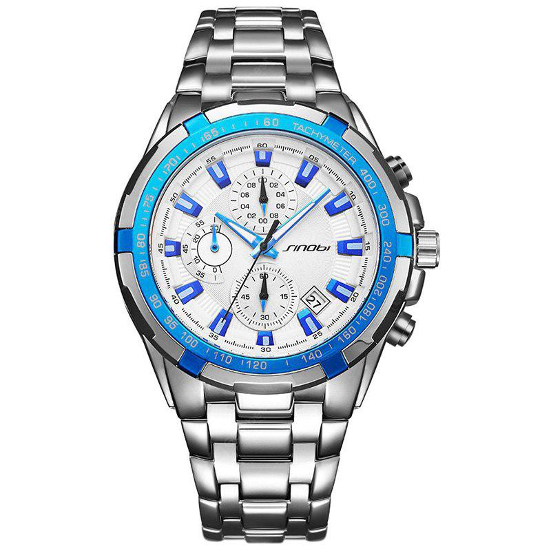 BLUE SINOBI 9720 Stylish Steel Band Men Quartz Watch