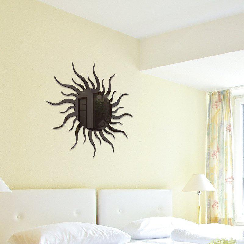 Buy Removable Decorative Sun Shape Mirror Wall Stickers BLACK