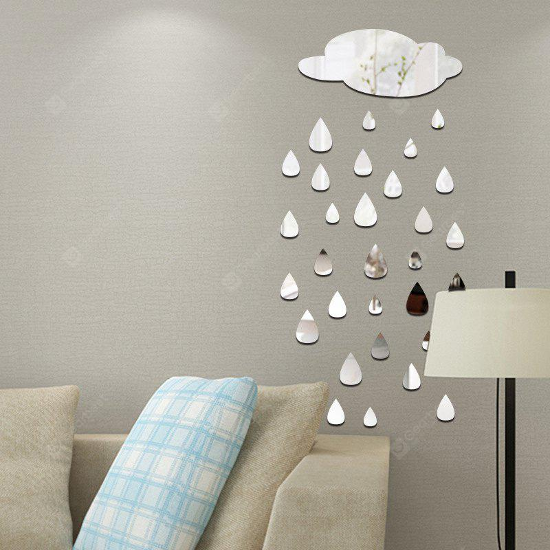 SILVER Removable Decorative Raindrops Mirror Wall Sticker