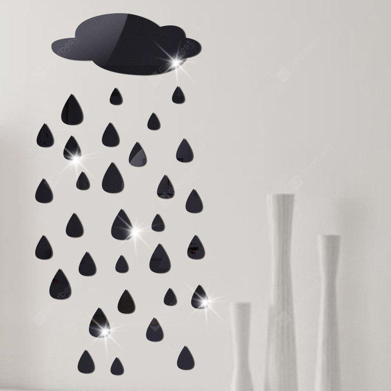 BLACK Removable Decorative Raindrops Mirror Wall Sticker