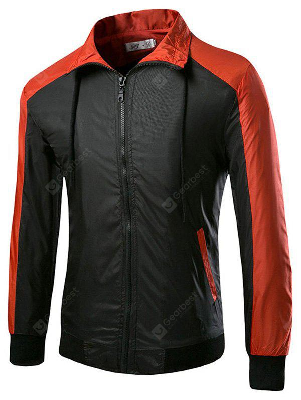 Zip-up Turn-down Collar Joint Jacket for Men