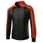 Zip-up Turn-down Collar Joint Jacket for Men - BLACK&RED