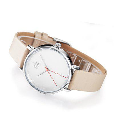 SHENGKE K0050L Leather Band Women WatchWomens Watches<br>SHENGKE K0050L Leather Band Women Watch<br><br>Band material: Leather<br>Band size: 23 x 1.5cm<br>Brand: SHENGKE<br>Case material: Alloy<br>Clasp type: Pin buckle<br>Dial size: 3.6 x 3.6 x 0.9cm<br>Display type: Analog<br>Movement type: Quartz watch<br>Package Contents: 1 x Watch, 1 x Box<br>Package size (L x W x H): 28.00 x 8.00 x 3.50 cm / 11.02 x 3.15 x 1.38 inches<br>Package weight: 0.0660 kg<br>Product size (L x W x H): 24.70 x 3.60 x 0.90 cm / 9.72 x 1.42 x 0.35 inches<br>Product weight: 0.0260 kg<br>Shape of the dial: Round<br>Watch mirror: Mineral glass<br>Watch style: Fashion<br>Watches categories: Women<br>Water resistance: 30 meters