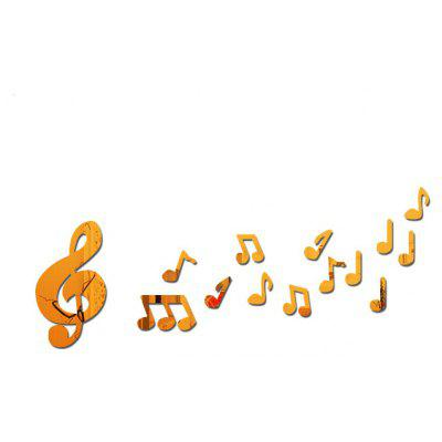 Buy GOLDEN Removable Decorative Musical Note Mirror Wall Sticker for $5.41 in GearBest store