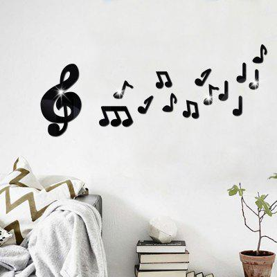Buy BLACK Removable Decorative Musical Note Mirror Wall Sticker for $5.41 in GearBest store