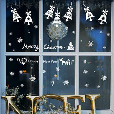 Buy WHITE MCYH Merry Christmas Snow Bell Decoration Wall Sticker for $6.39 in GearBest store