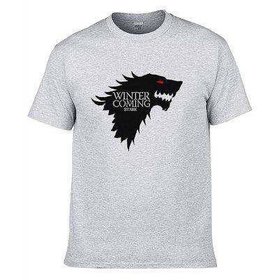 Men Winter Is Coming Letter Printed T-shirt