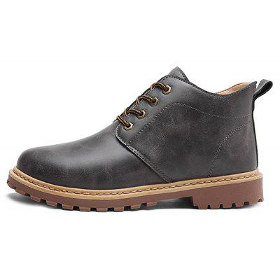 Men Casual Short Leather Martin Boots