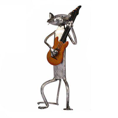 Buy IRON GREY MCYH521 Creative Metal Figurine Iron Guitar Cat Artwork for $66.89 in GearBest store