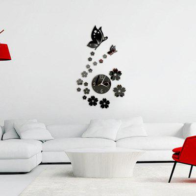 Buy BLACK 3D Decorative Butterfly Flowers Acrylic Mirror Wall Clock for $6.43 in GearBest store