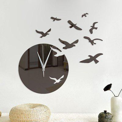3D Decorative Seagull Acrylic Mirror Wall Clock