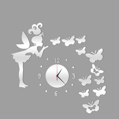 Clock Shape Mirror Design Wall Stickers